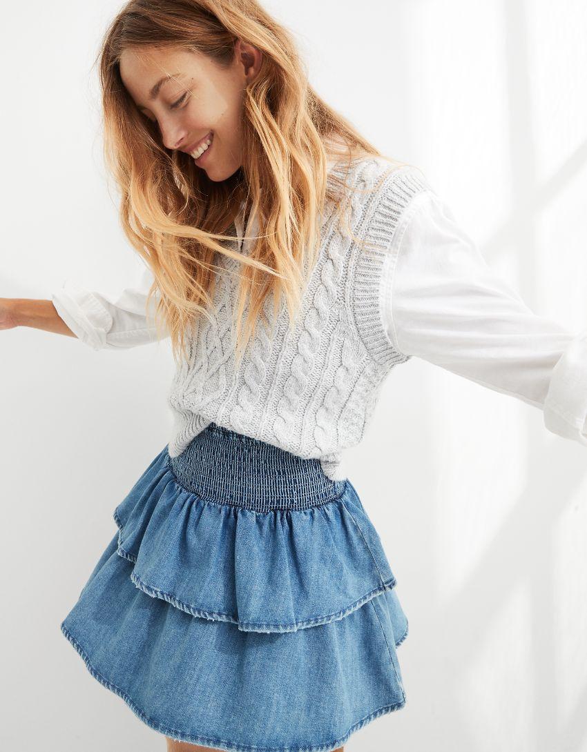 Aerie Frills 'N' Thrills Denim Mini Skirt