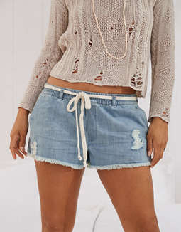 Aerie Denim Fringe Short