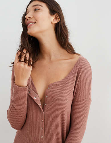 Aerie Ribbed Henley Oversized Sleep Romper