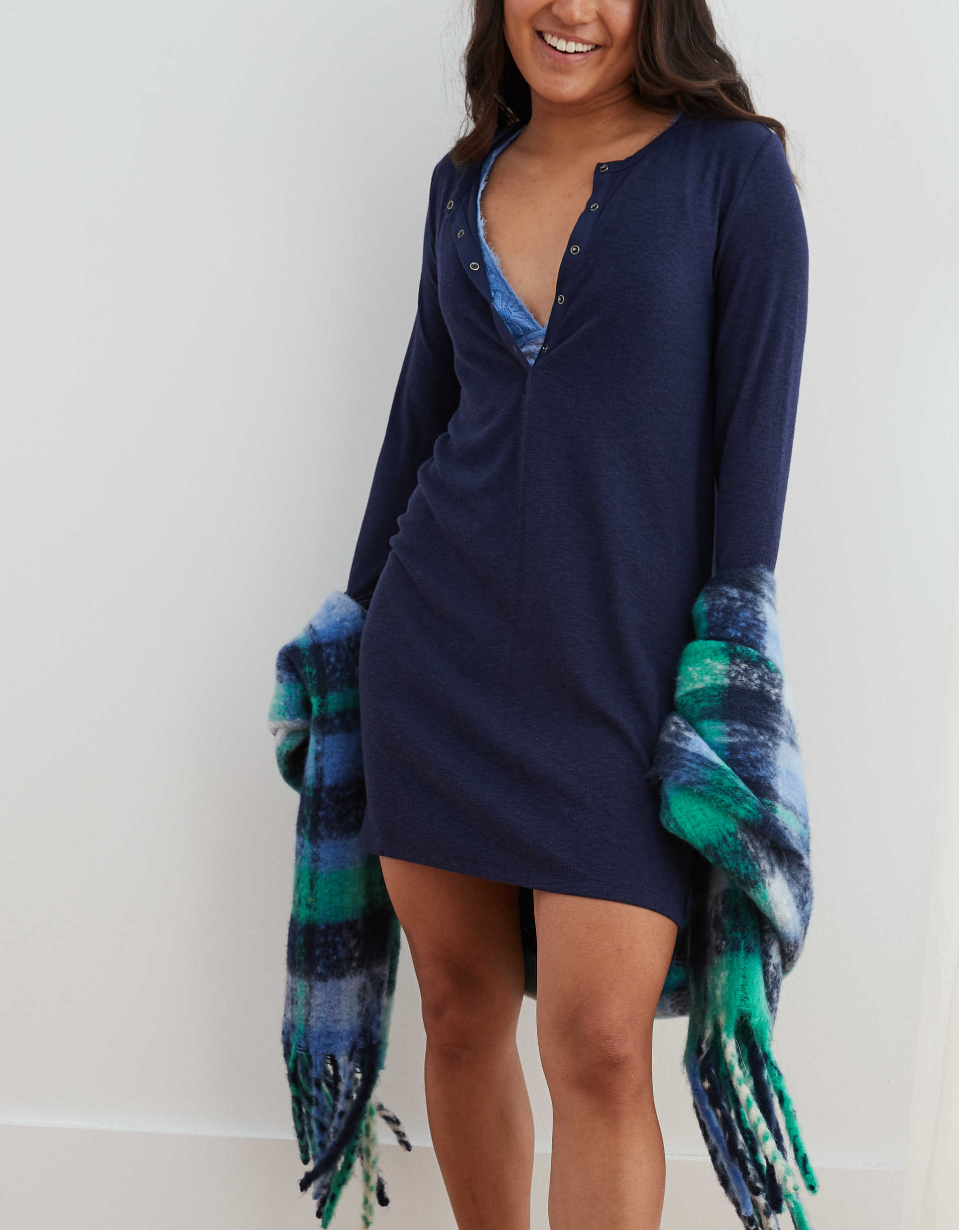 Aerie Softest Ribbed Henley Nightie