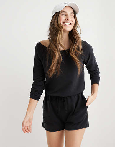 Aerie Fleece Long Sleeve Romper