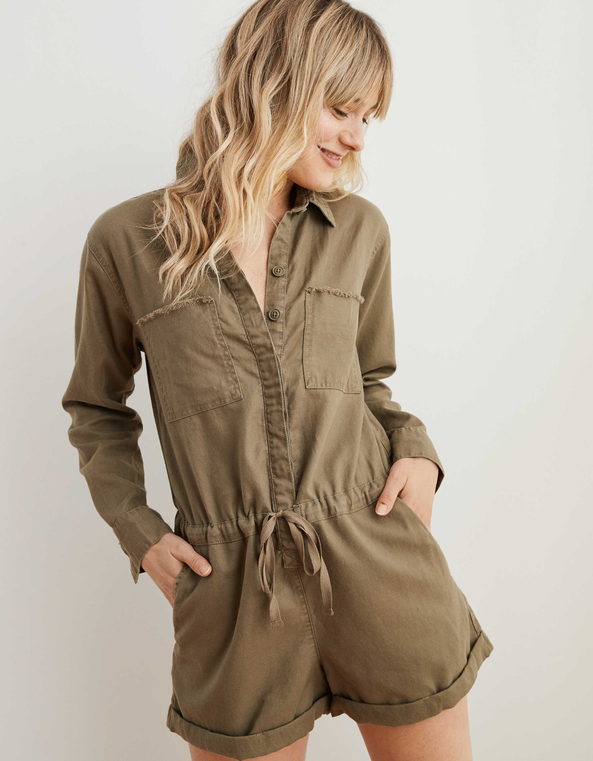 Aerie Softest Utility Twill Long Sleeve Romper