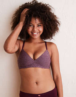 Aerie Real Sunnie Wireless Demi Coverage Push Up Bra, Deep Plum
