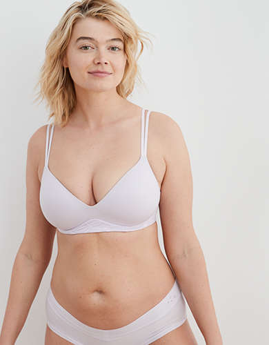 Aerie Real Sunnie Wireless Demi Coverage Push Up Bra