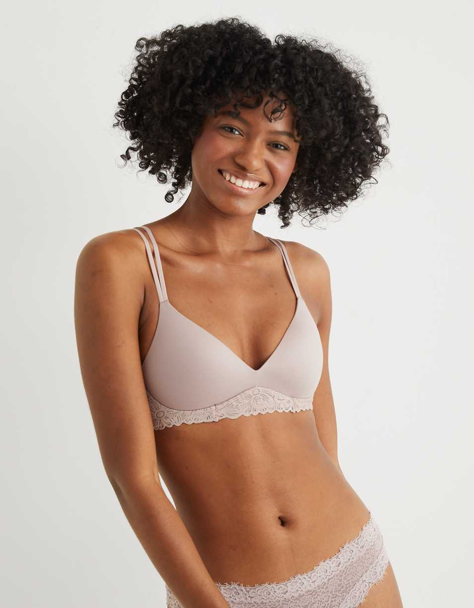 Aerie Real Sunnie Wireless Lace Push Up Bra