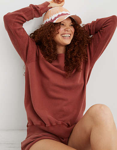 Aerie Inside Out Sleeve Vintage Crew Sweatshirt