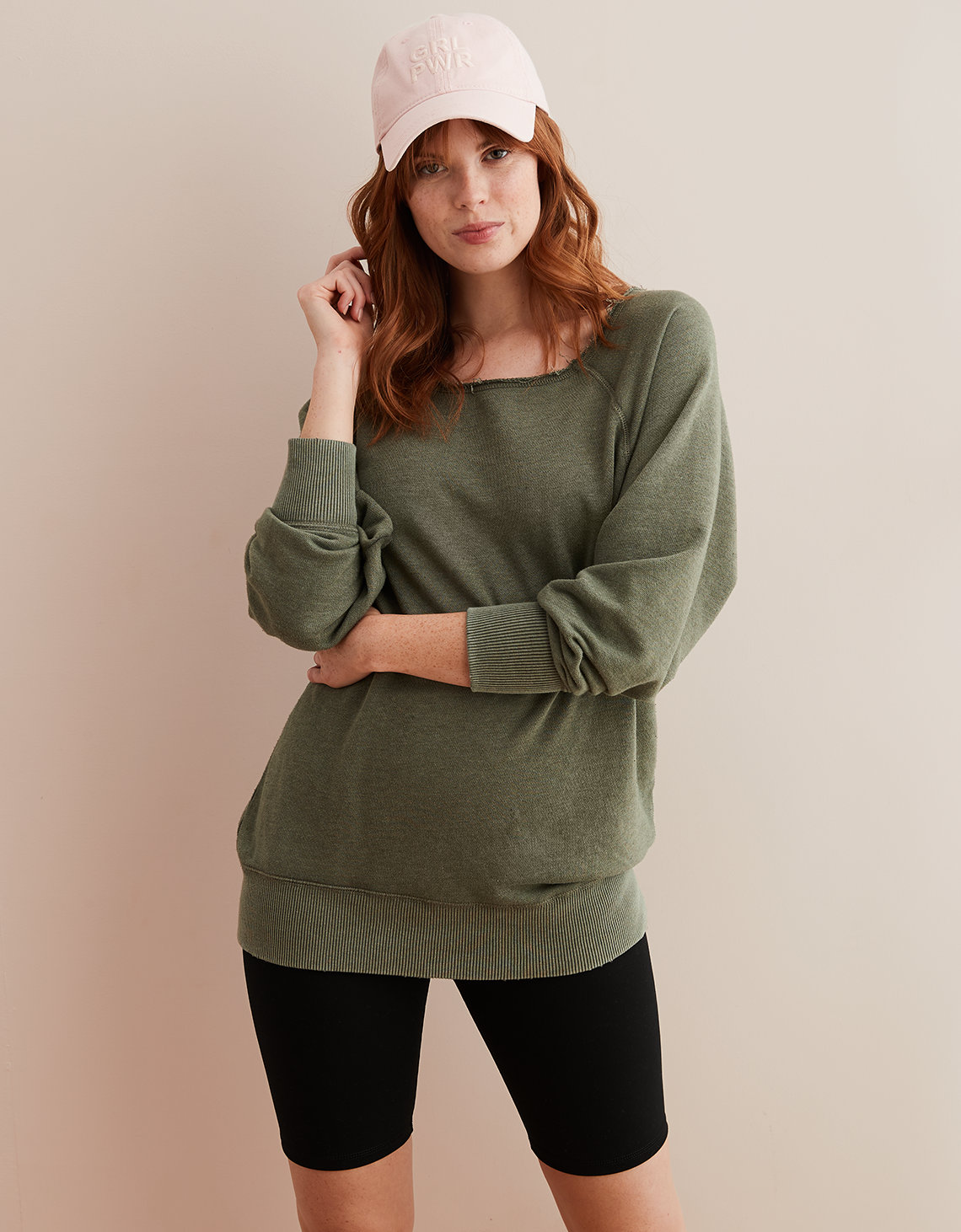 c5c6a54a8708ed Aerie Raw Cut City Sweatshirt, Olive Fun | American Eagle Outfitters