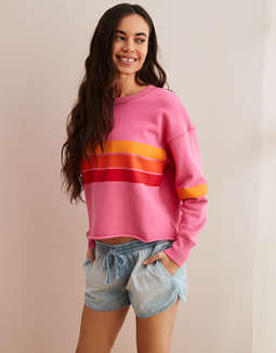Aerie Striped Pullover Sweatshirt
