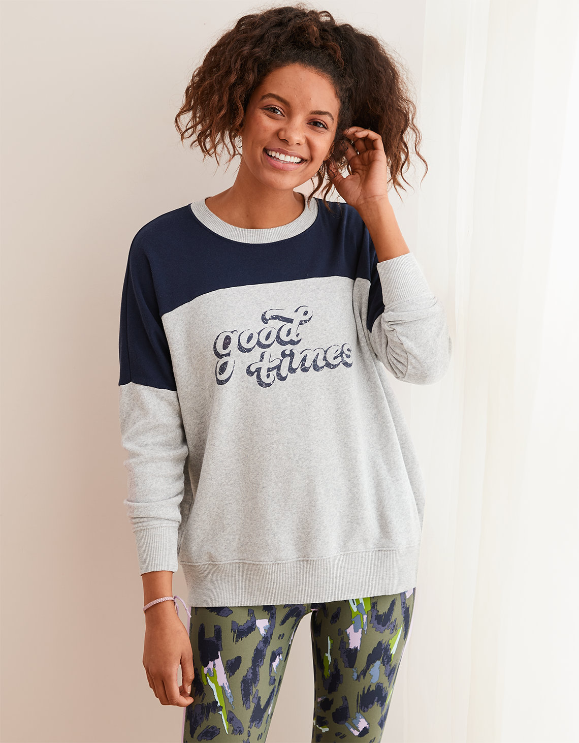 d93bdbed51cdd6 Aerie Happy Camper Sweatshirt, Medium Heather | Aerie for American Eagle