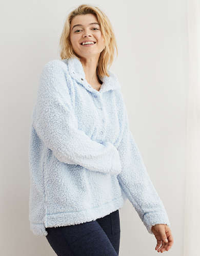 Aerie Oversized Cloud Sherpa Quarter Snap Pullover