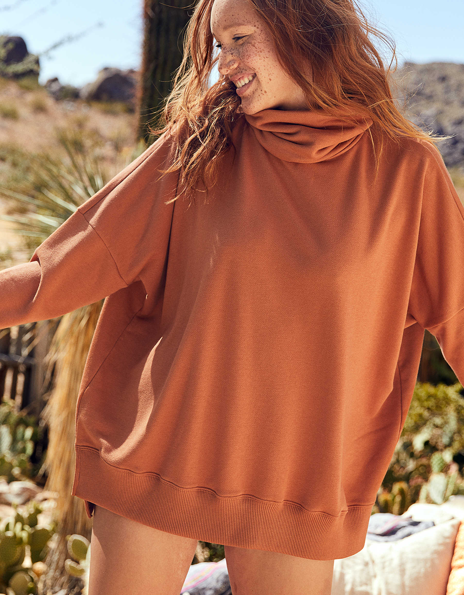 Aerie Oversized Sunday Soft Turtleneck Sweatshirt