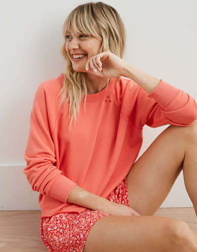 Aerie Sunday Soft Distressed Crew Sweatshirt