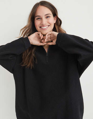 Aerie Good Vibes Corded Oversized Quarter Zip Sweatshirt