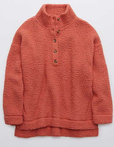 Aerie Cloud Sherpa Oversized Button Pullover