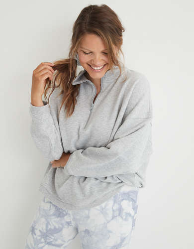 Aerie Good Vibes Oversized Quarter Zip Sweatshirt