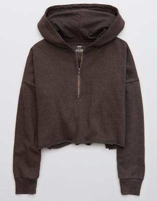 Aerie Fleece-Of-Mind Cropped Quarter Zip Hoodie