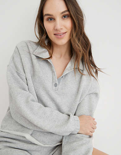Aerie Fleece-Of-Mind Cropped Polo Sweatshirt