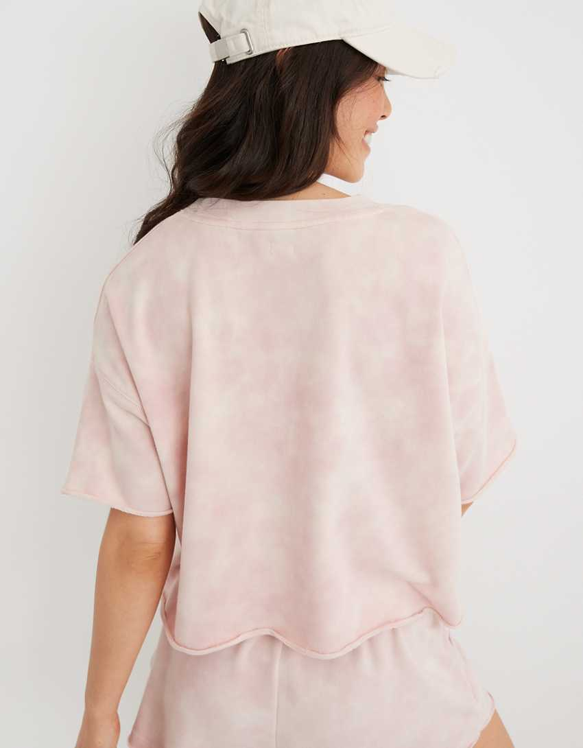 Aerie Sunset Terry Fleece Cropped Short Sleeve Sweatshirt