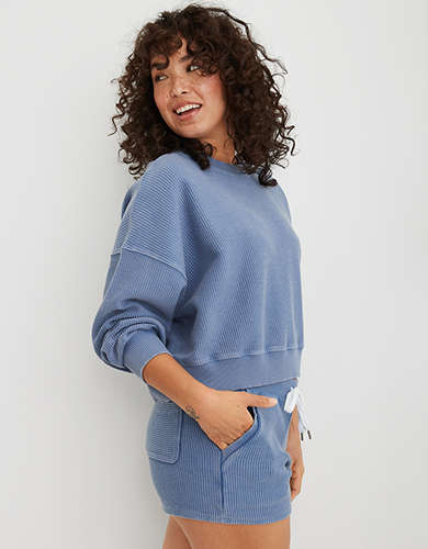 Aerie New Love Corded Cropped Crew Sweatshirt