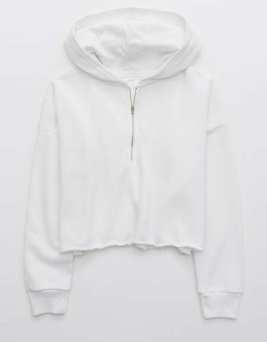 Aerie Fleece-Of-Mind Cropped Quarter Zip Hoodie