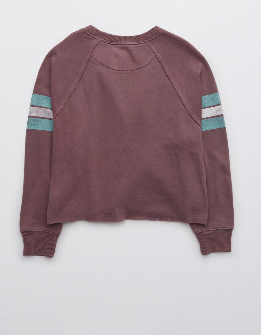 Aerie Fleece-Of-Mind Varsity Cropped Crew Neck Sweatshirt