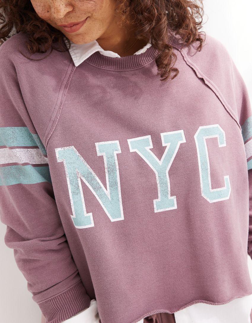 New + Real Good Aerie Fleece-Of-Mind Varsity Cropped Crew Neck Sweatshirt