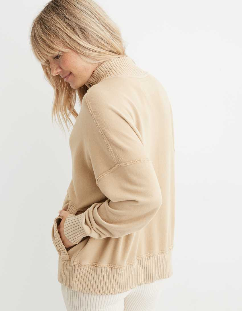 Aerie Oh Snap! Weekend Henley Mockneck Sweatshirt