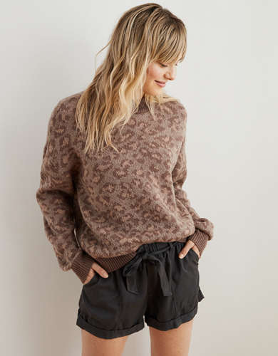 Aerie Leopard Crew Pullover Sweater