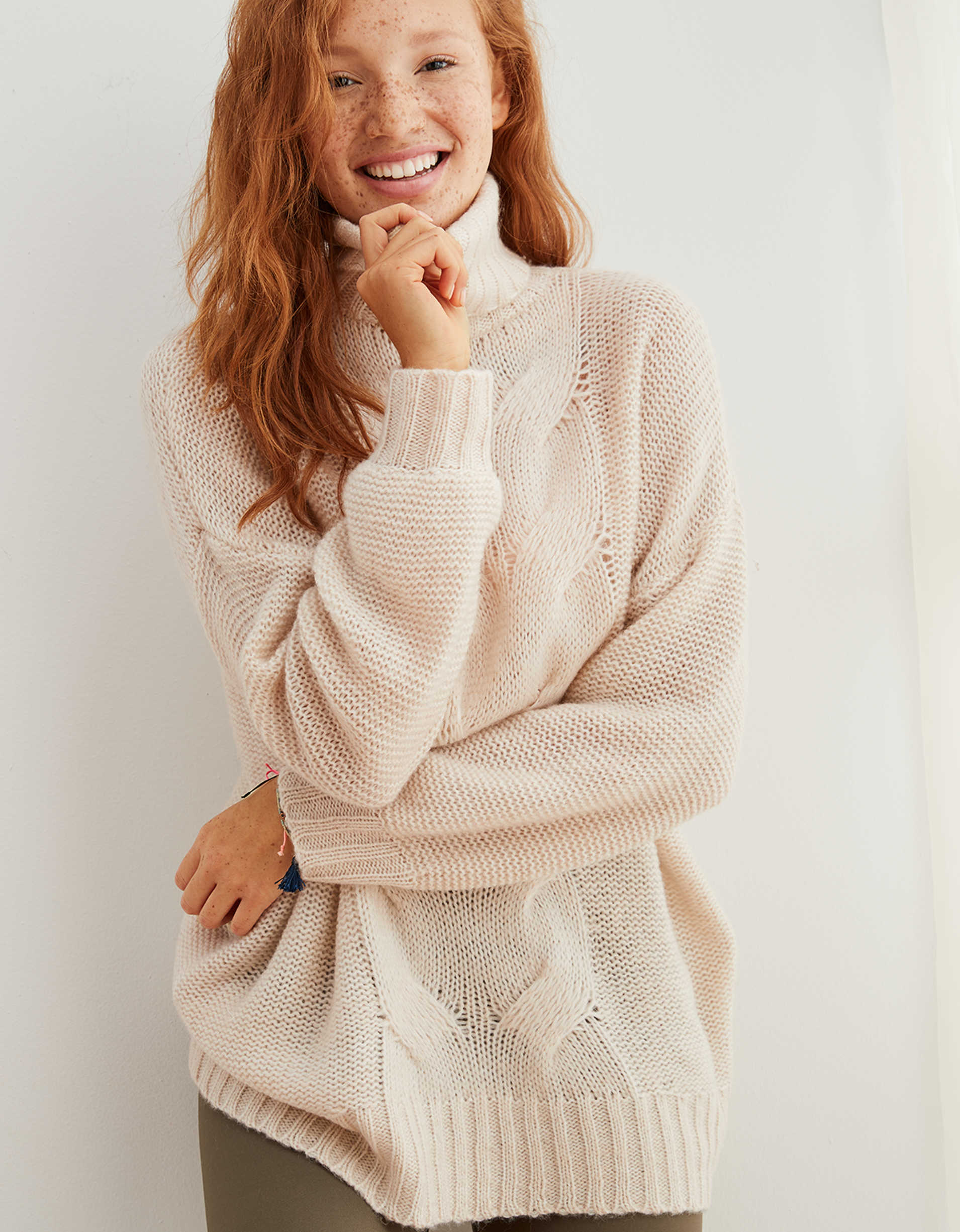 Aerie Oversized Happy Place Cable Turtleneck