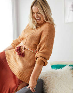 Aerie Happy Place Cable Turtleneck