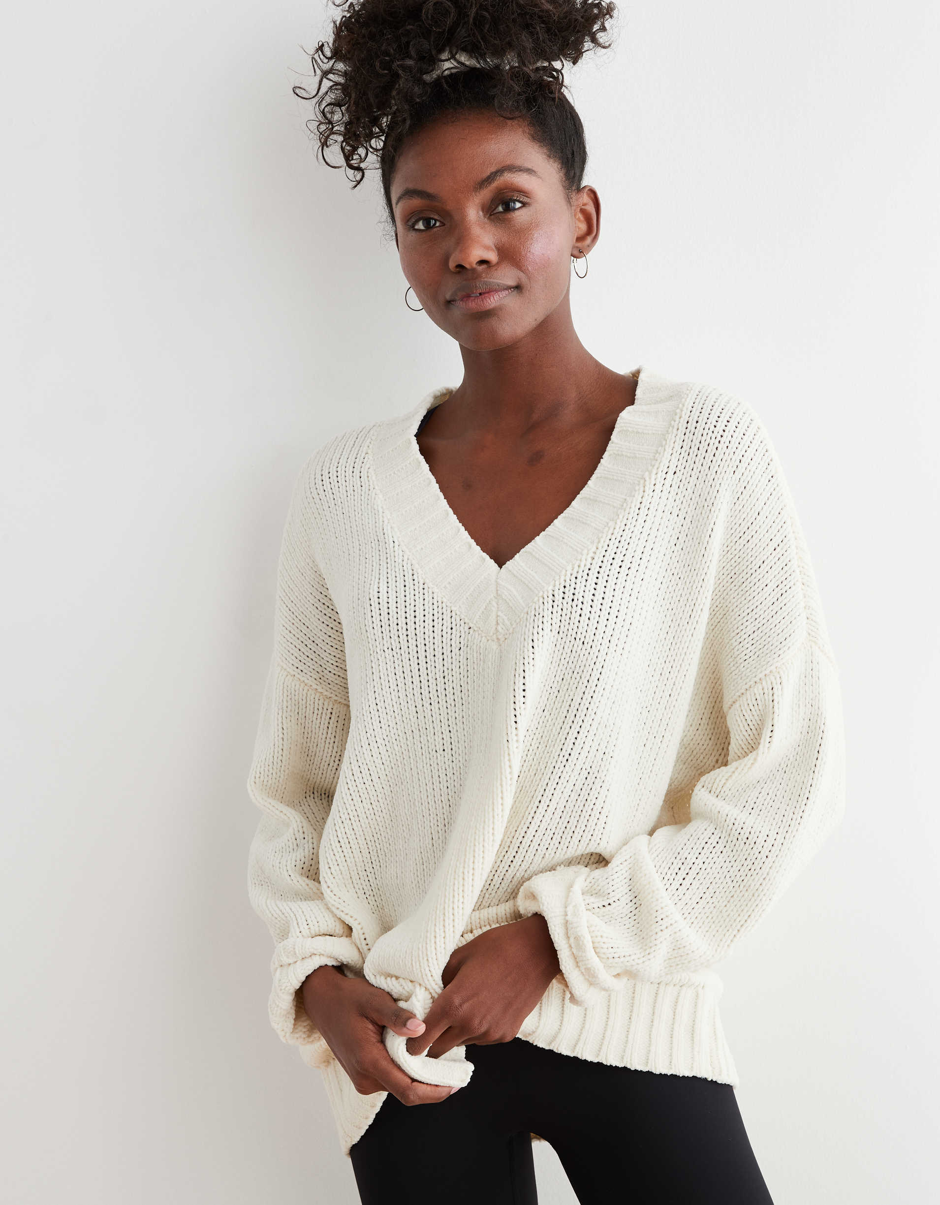 Aerie Chenille V-Neck Oversized Sweater