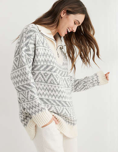 Aerie Fairisle Oversized Quarter Zip Sweater
