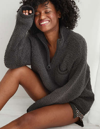 Aerie Sherpa Quarter Zip Sweater
