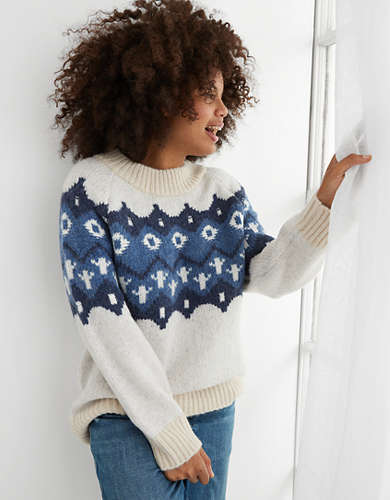 Aerie Holiday Fairisle Oversized Sweater
