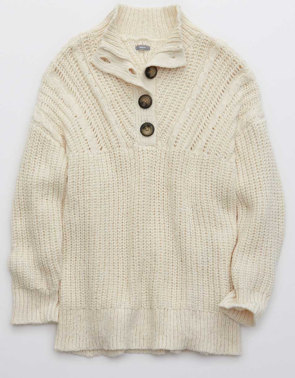 Aerie Button Mock Neck Sweater