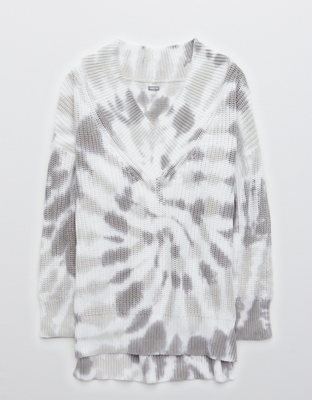 Aerie Wide Tie Dye V Neck Oversized Pullover Sweater