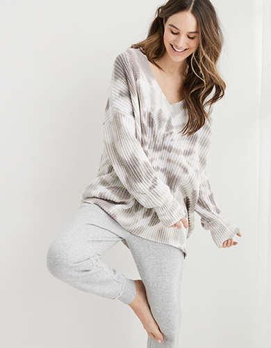 Aerie Wide V Neck Oversized Pullover Sweater