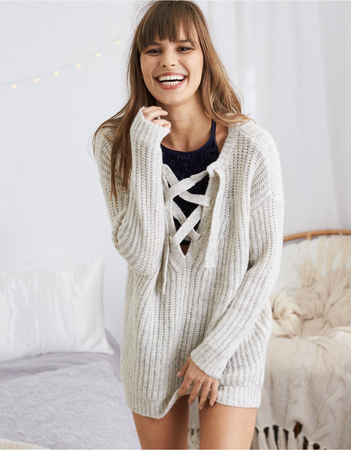 Aerie Oversized Lace-Up Sweater, Oatmeal Heather | Aerie for ...