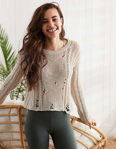 Womens Cable Knit Sweater American Eagle Outfitters