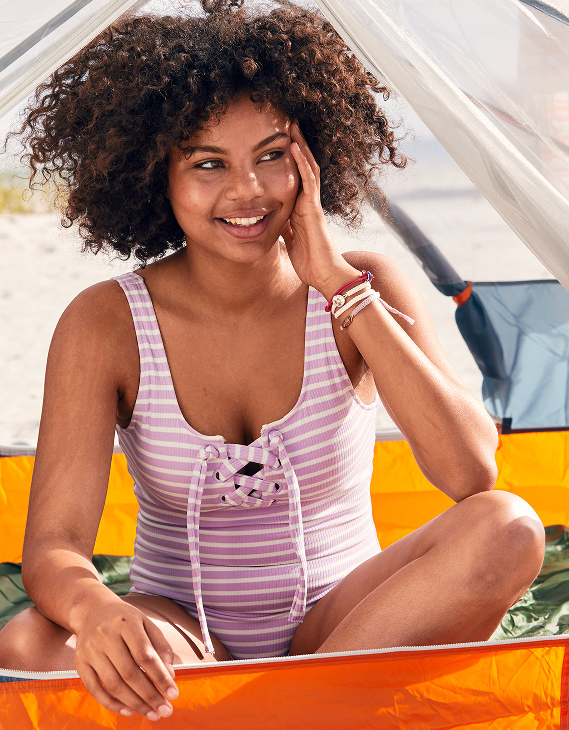 Aerie Lace-Up One Piece Swimsuit