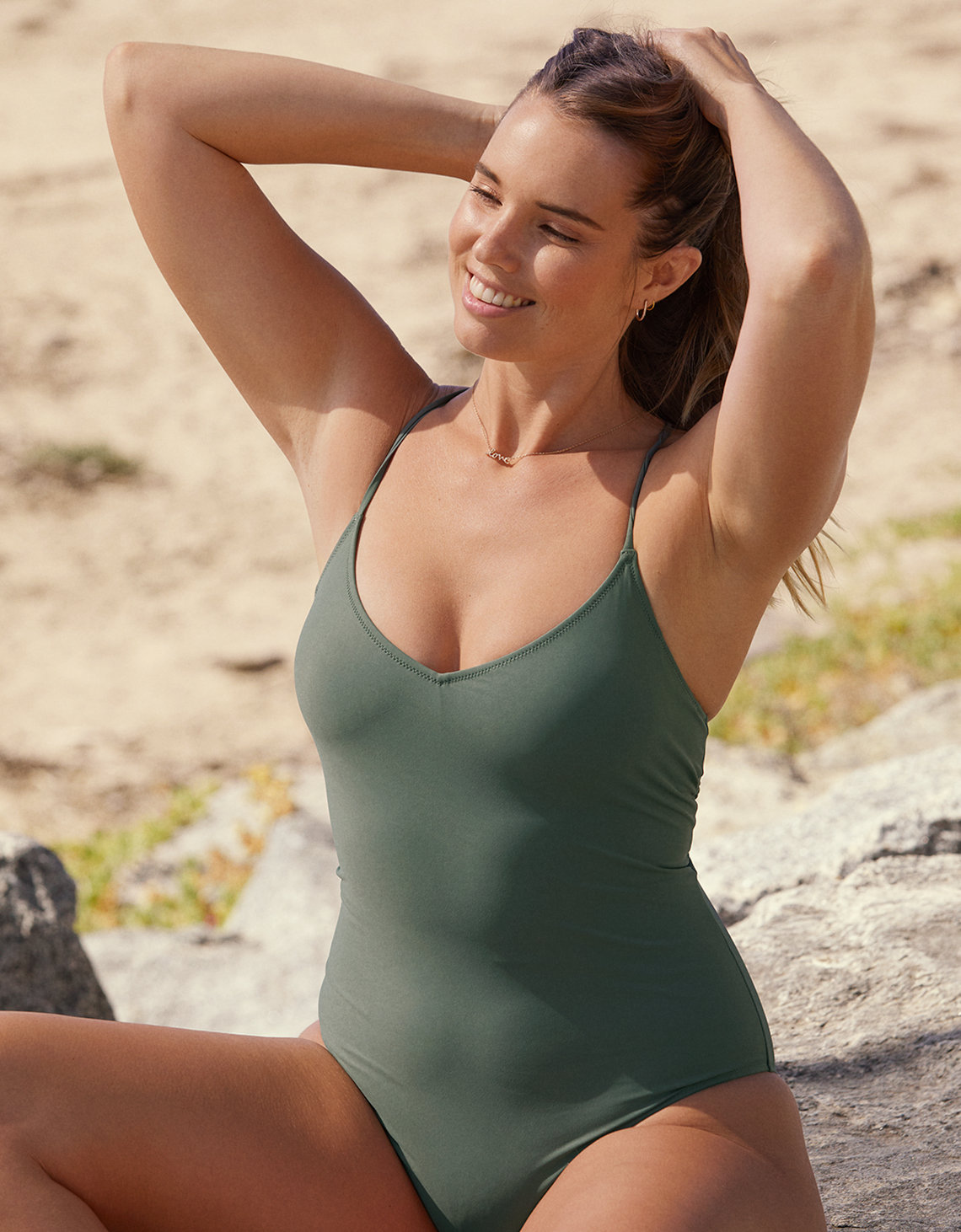 Aerie Strappy Back One Piece Swimsuit Olive Fun Aerie For