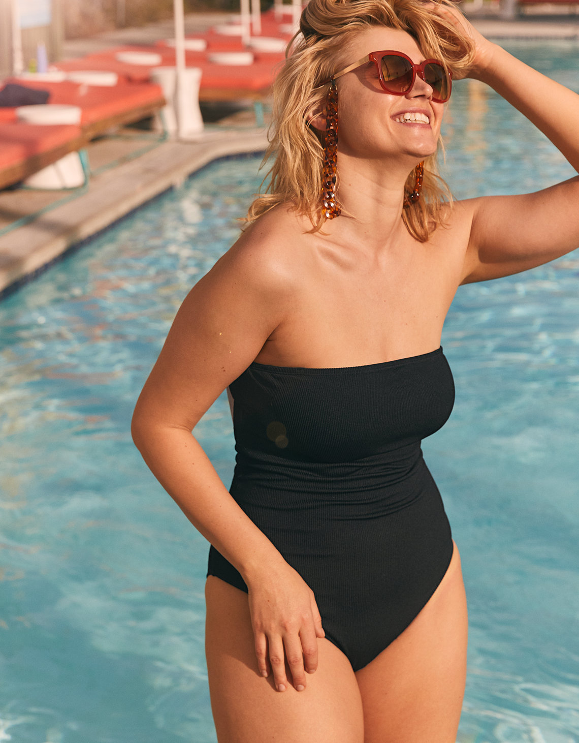 Aerie Ribbed Bandeau One Piece Swimsuit