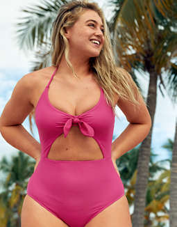 Aerie Tie Cutout One Piece Swimsuit
