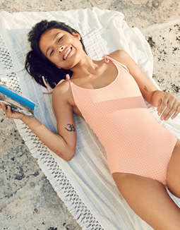 Aerie Seersucker Scoop One Piece Swimsuit