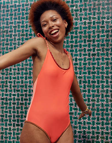 Aerie Crochet Trim One Piece Swimsuit