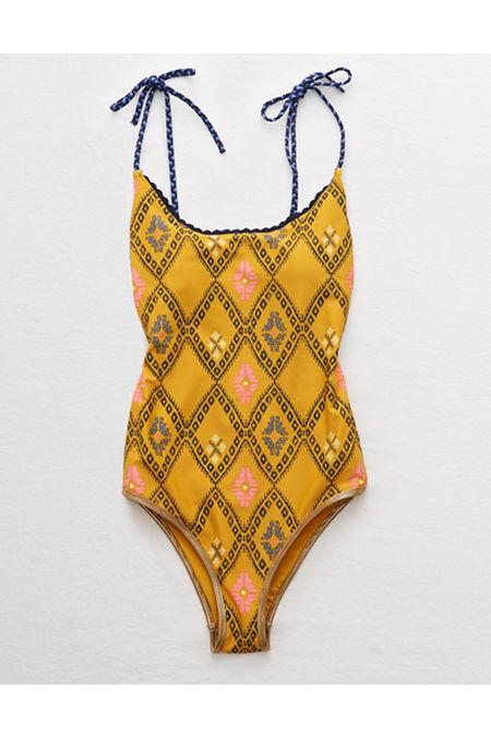 Vintage Bathing Suits | Retro Swimwear | Vintage Swimsuits Aerie Crochet Trim One Piece Swimsuit Womens Golden Turmeric L Long $29.97 AT vintagedancer.com