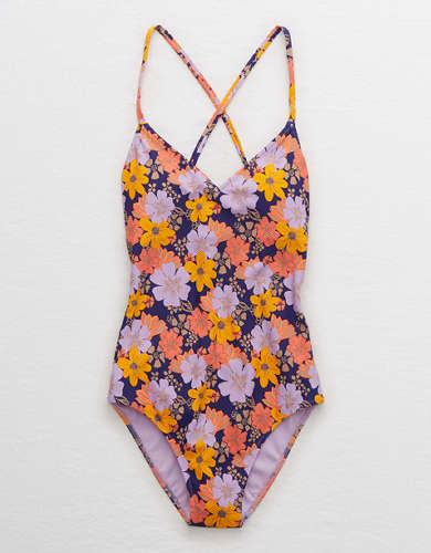 Aerie Pique Strappy Back One Piece Swimsuit