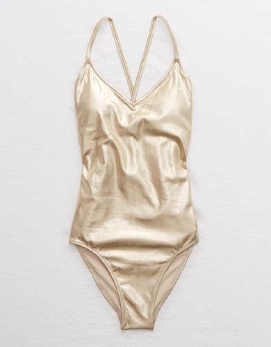 Aerie Shine Strappy Back One Piece Swimsuit