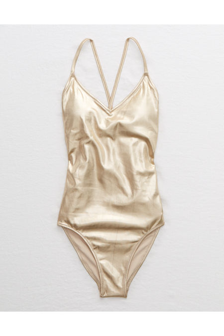 Vintage Bathing Suits | Retro Swimwear | Vintage Swimsuits Aerie Shine Strappy Back One Piece Swimsuit Womens Gold M $24.97 AT vintagedancer.com