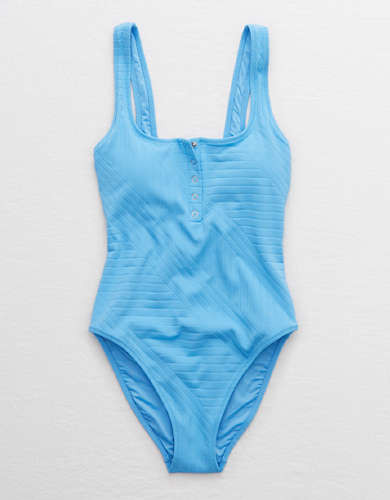 Aerie XO Ribbed Henley One Piece Swimsuit